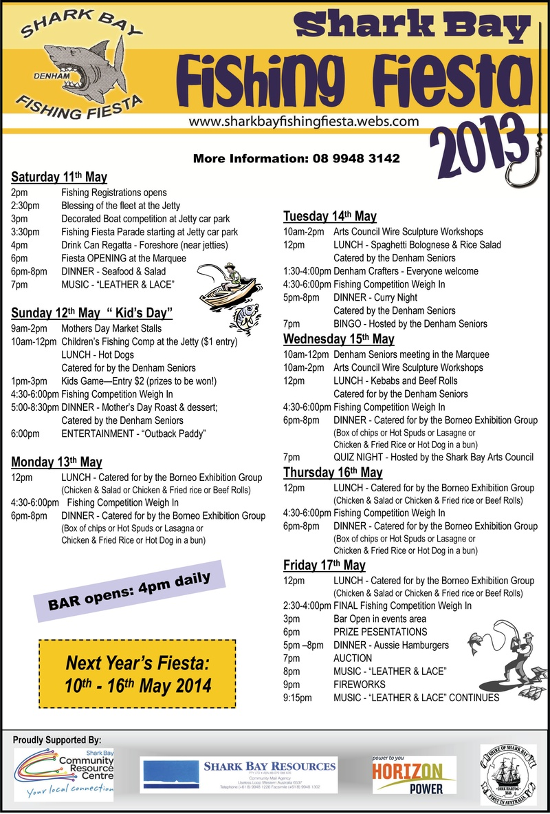 Next year 39 s annual shark bay fishing fiesta is on the 10th for Fishing sponsorship application